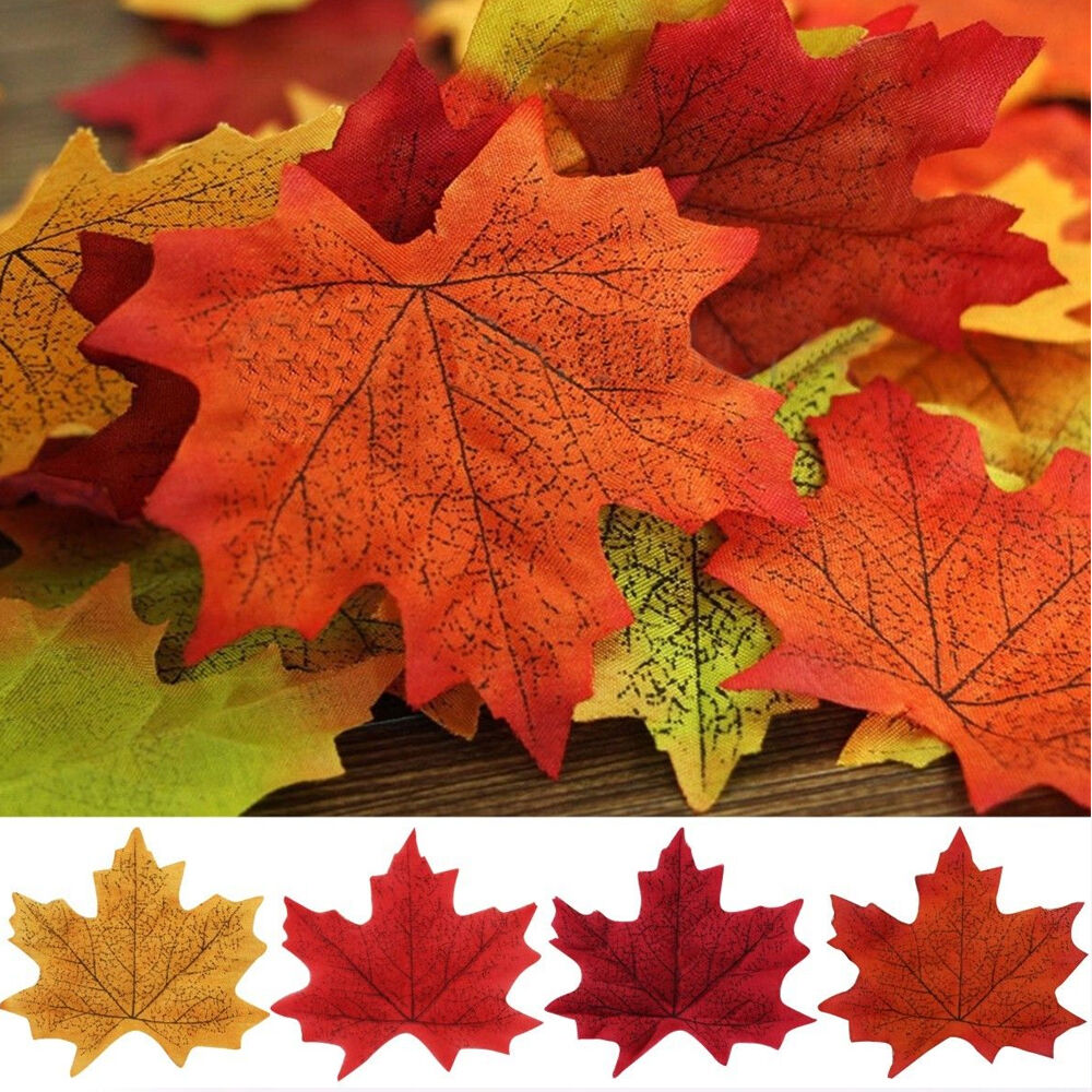 Leaves Decoration: 100Pcs Artifical Fall Cloth Maple Leaves Wedding Party