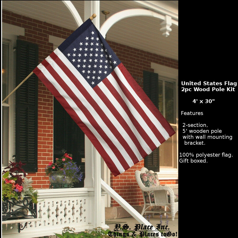 United states usa american flag garden porch 2pc wood pole for American kit homes
