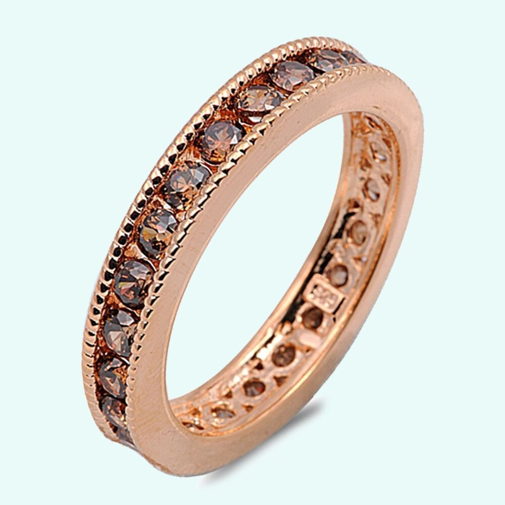 rose gold chocolate brown cz sterling silver wedding anniversary band ring ebay. Black Bedroom Furniture Sets. Home Design Ideas