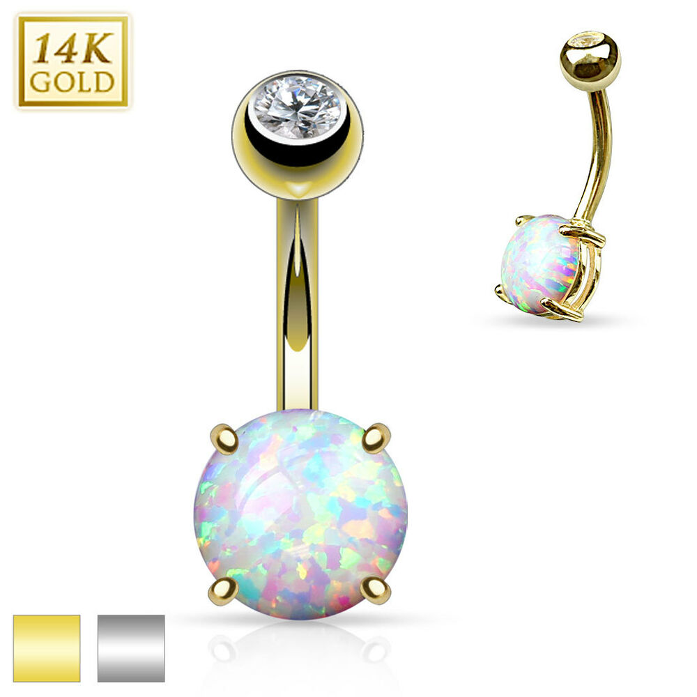 14k solid gold opal setting belly button navel bar