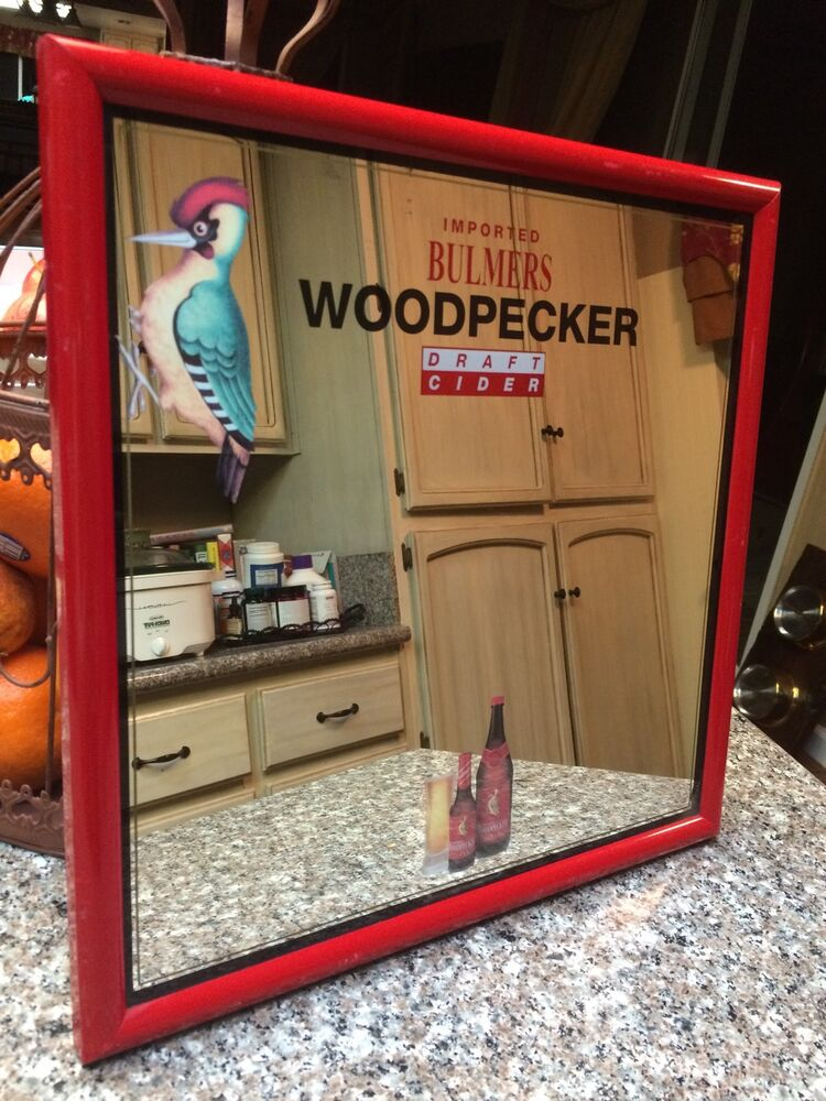 Vintage Glass Mirror Beer Sign Imported Bulmers Woodpecker