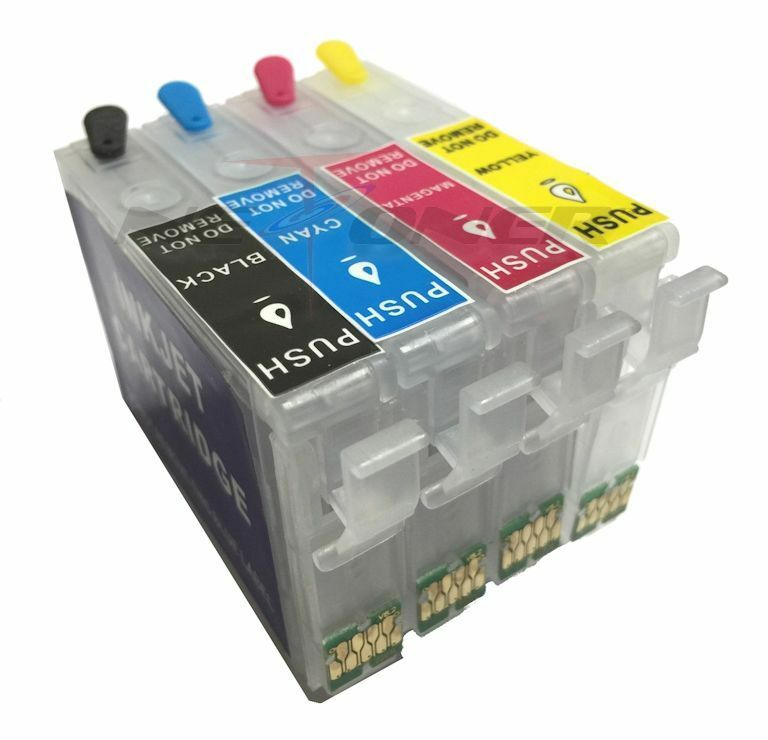 Full Refillable Ink Cartridge Set For Epson Workforce WF