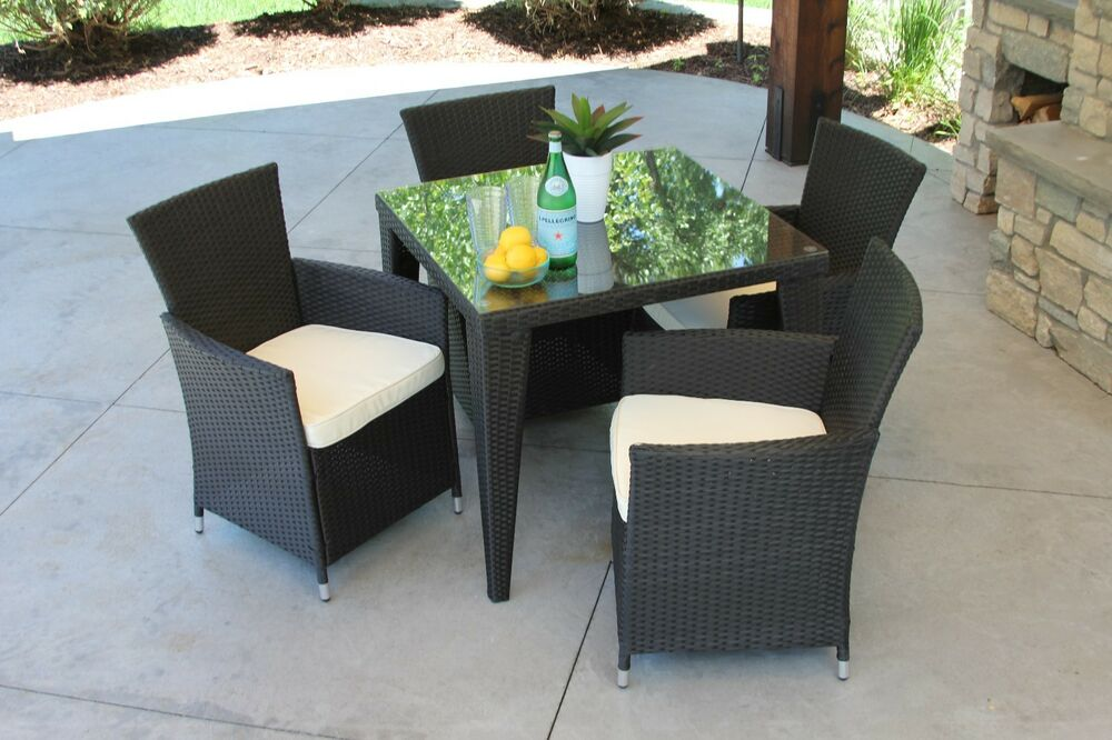 5 Pc Outdoor Black Rattan Wicker Table Patio Set Furniture Dining Garden Yard Ebay