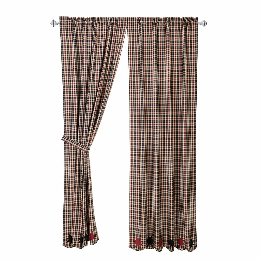 Carson Star Plaid Applique Stars 84 Quot Panel Set Curtains