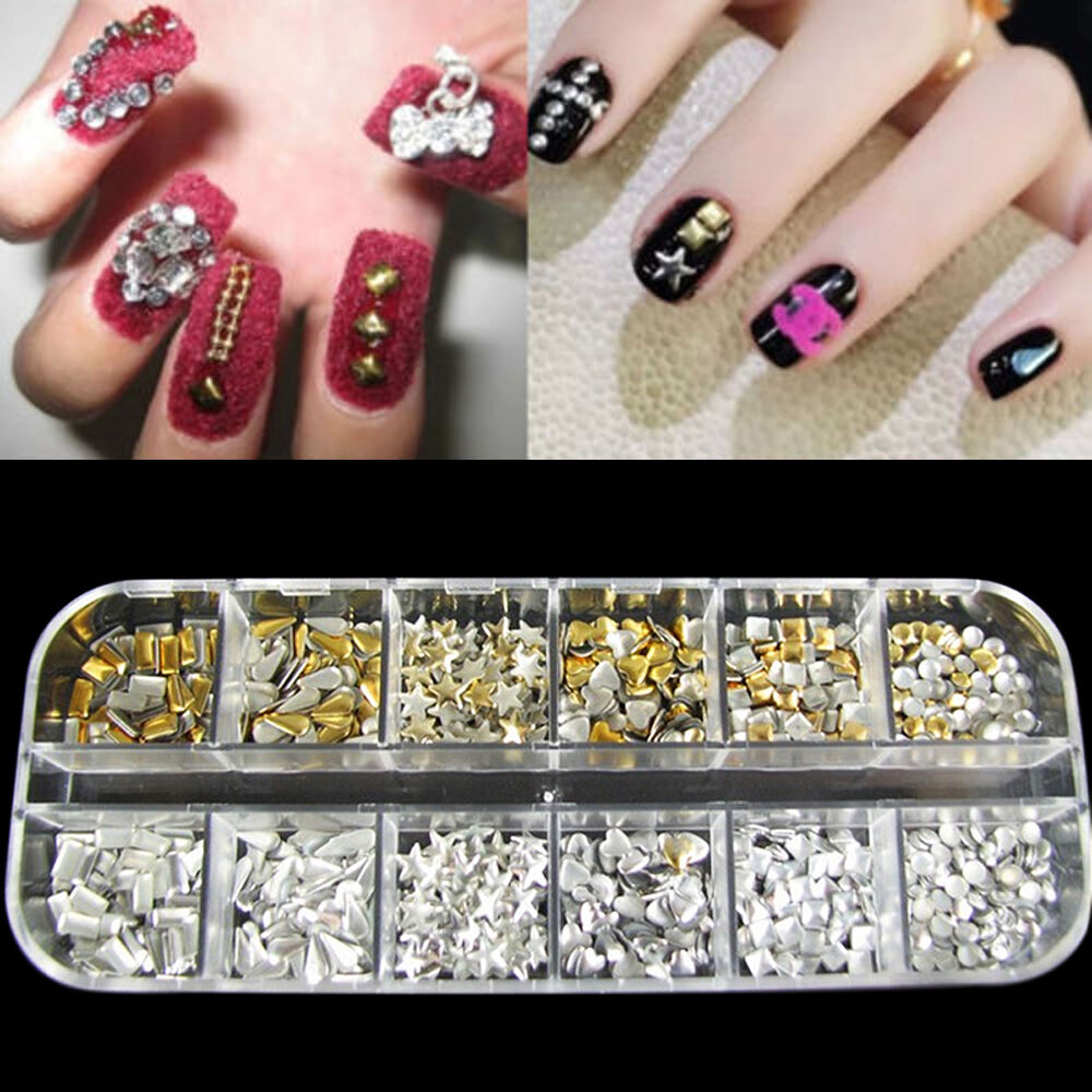 300pcs 3d nail art tips metal studs rivet supplies for 3d nail art decoration
