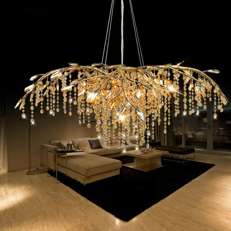 Lux Europe Type Droplight Gold Tree Crystal Chandelier