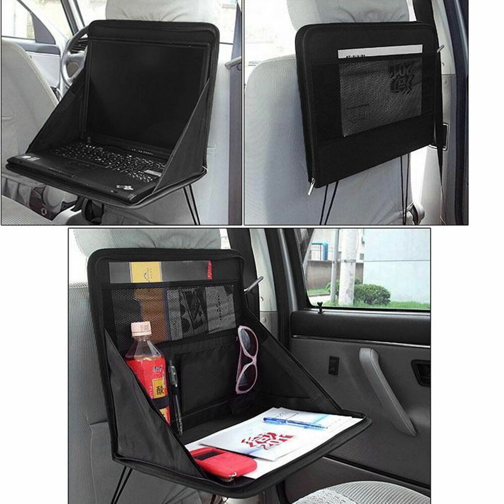 folding table car back seat storage tidy organiser dvd laptop holder tray travel ebay. Black Bedroom Furniture Sets. Home Design Ideas