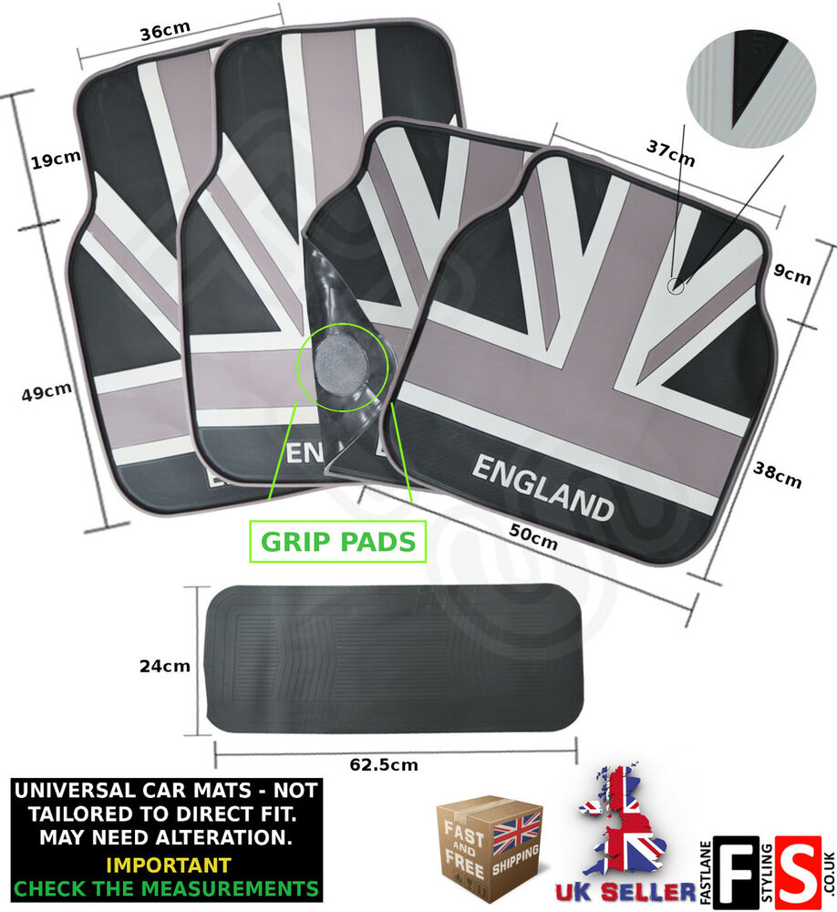 universal 5 piece car floor mats set rubber british union jack monochrome mini ebay. Black Bedroom Furniture Sets. Home Design Ideas