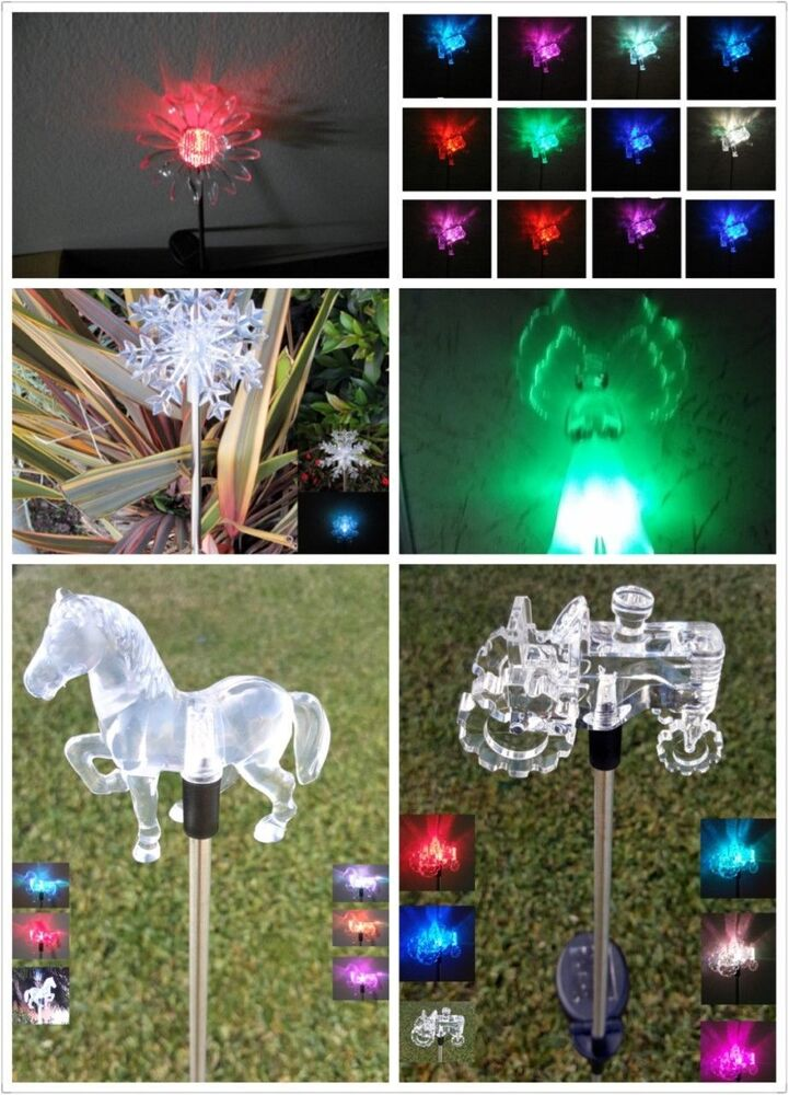 Garden decoration solar powered color changing pathway lawn patio stake light ebay for Solar garden stakes color changing
