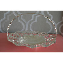 Vintage Silverplate EP on Steel Footed Basket w Twisted Handle - Made in England