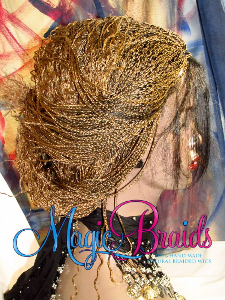 Hand Braided Lace Front Wig Micro Braids Color 27 1 Blond