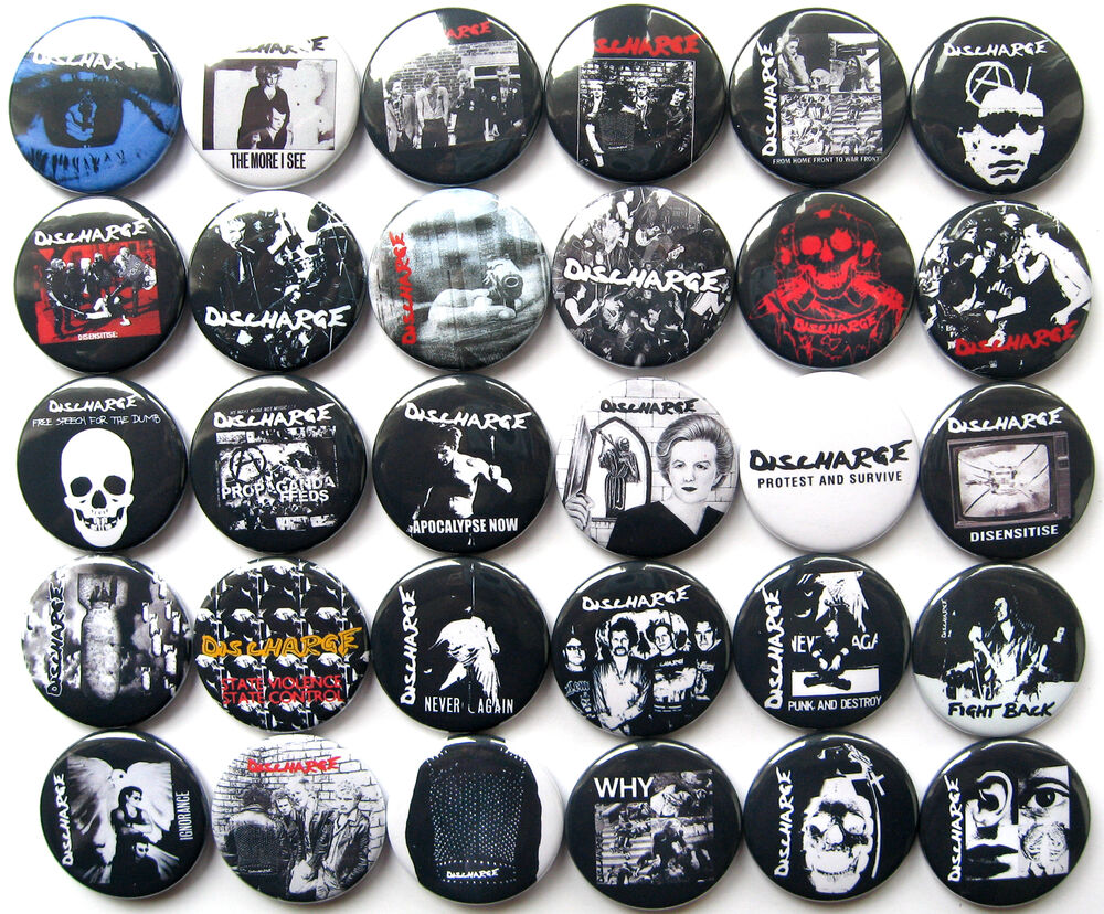 discharge punk rock hardcore oi pins buttons badges lot of. Black Bedroom Furniture Sets. Home Design Ideas