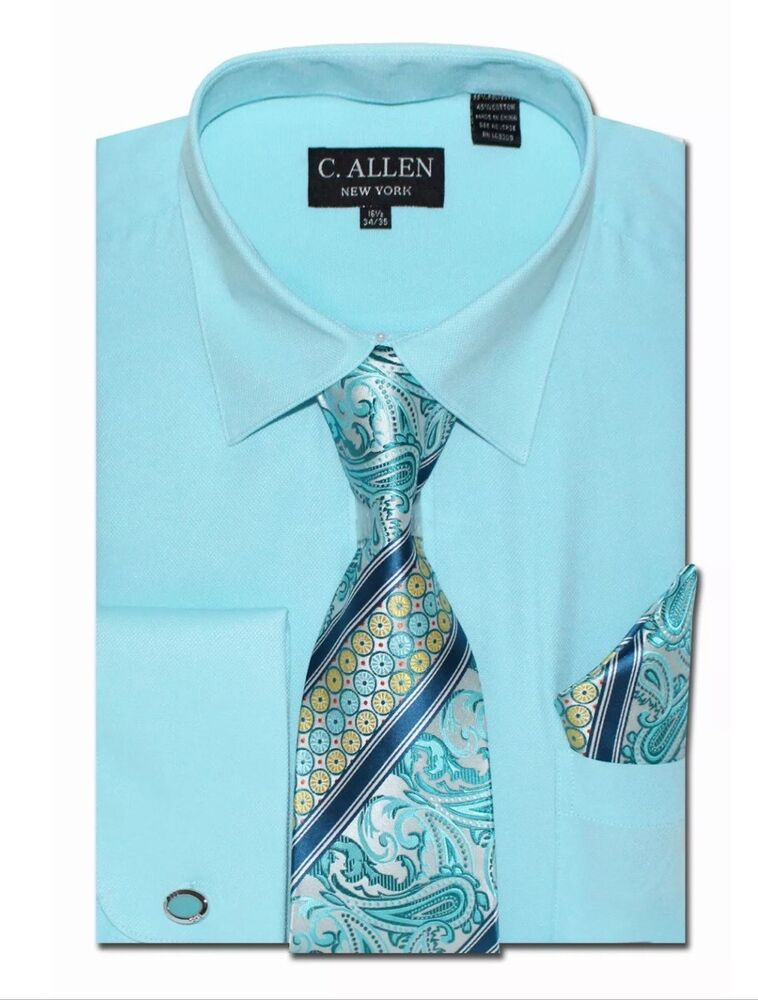 Men 39 s new luel homme turquoise french cuff dress shirt for Mens dress shirt french cuff