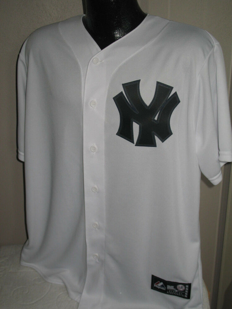 99f55f366 MLB New York Yankees White Baseball Jersey Mens Sizes Majestic NY Laundry  Tag