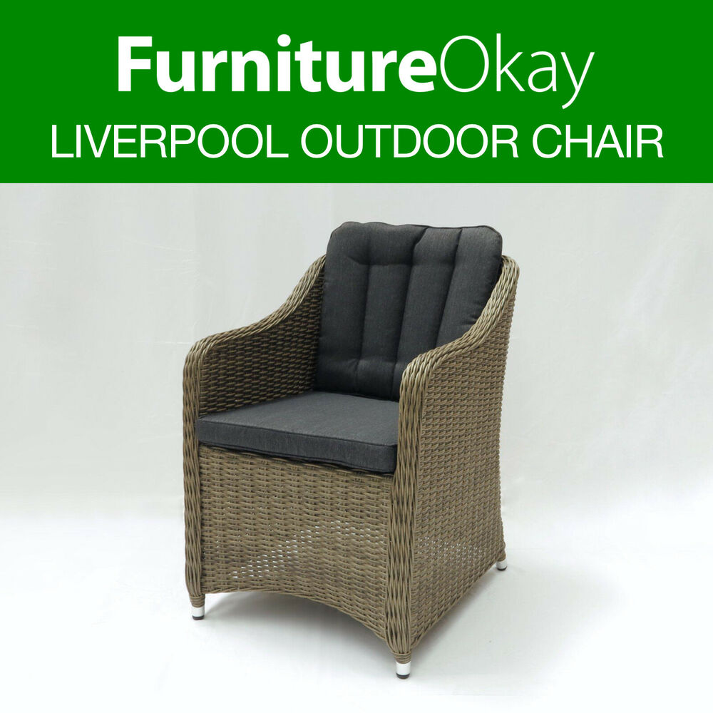 2x liverpool wicker rattan outdoor dining patio lounge for Dining lounge rattan