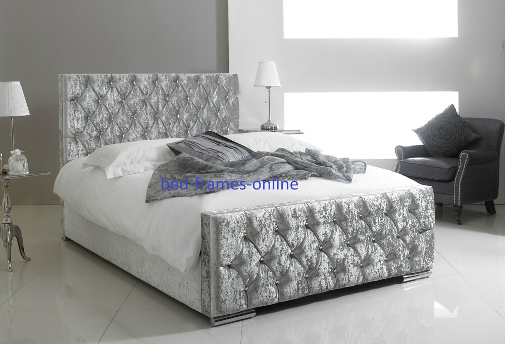 florida upholstered crushed velvet diamante bed frame
