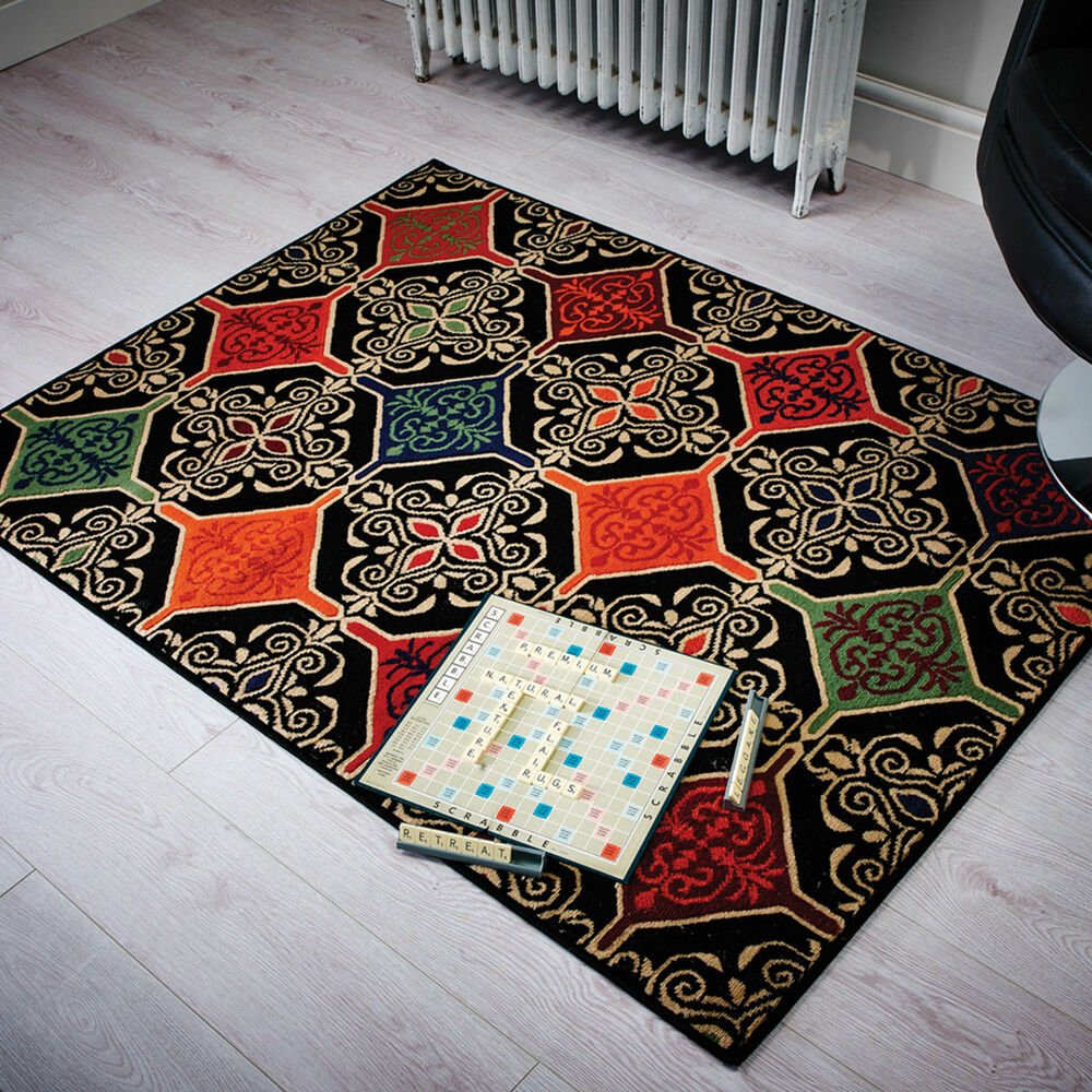 Black And White Rug Ebay Uk: Retro Modern Rug Mat Victorian Tile Pattern Black Red