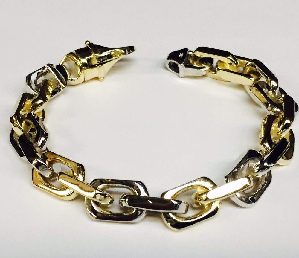 14k solid two tone gold handmade link men 39 s chain bracelet. Black Bedroom Furniture Sets. Home Design Ideas