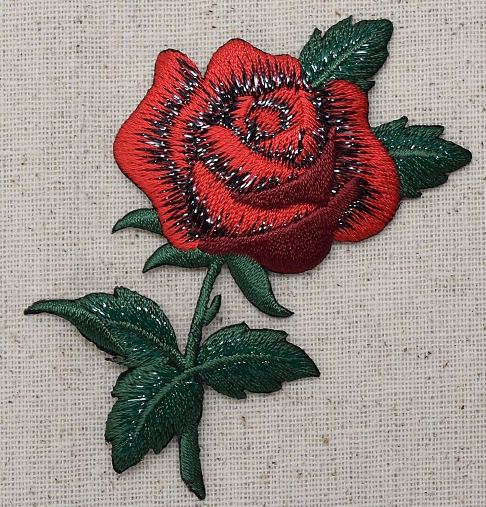 Large single red rose green leaves a iron on