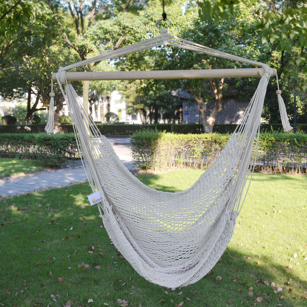 Brand new hanging swing cotton rope hammock chair patio porch garden outdoor ebay - Choosing a hammock chair for your backyard ...