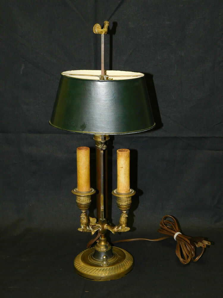 Antique C 1800s French Owls Rooster Bronze Bouillotte Lamp EBay