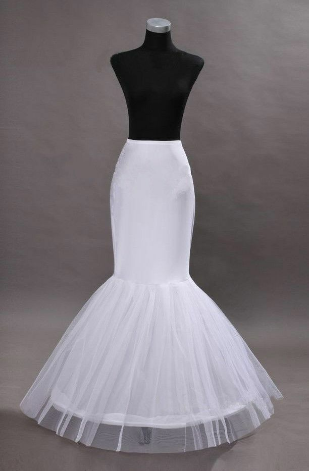 New white mermaid 1 hoop wedding dress petticoat for Mermaid slip for wedding dress