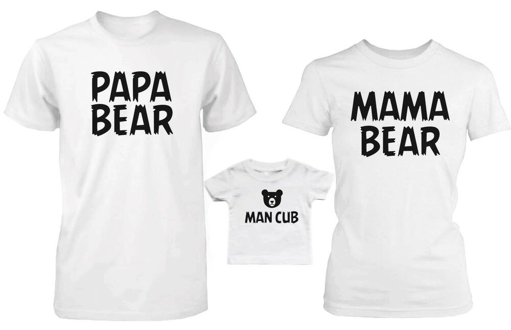 Daddy Mommy And Baby Matching Bear Family T Shirt And