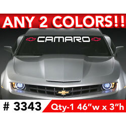 CHEVY CAMARO w BOWS WINDSHIELD DECAL STICKER 46''w x 3''h ANY 2 COLORS