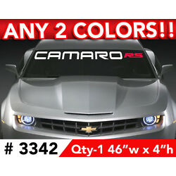 CHEVY CAMARO w RS WINDSHIELD DECAL STICKER 46''w x 4''h ANY 2 COLORS