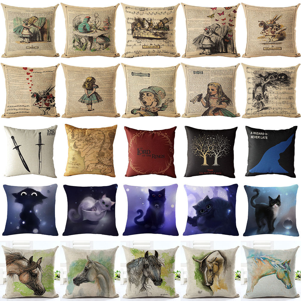Cartoon Alice In Wonderland Cotton Linen Pillow Cases