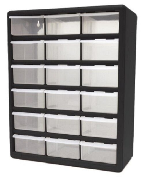 heavy duty plastic storage home cabinet 18 clear drawer garage utility organizer ebay. Black Bedroom Furniture Sets. Home Design Ideas