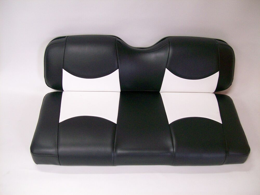 club car precedent golf cart custom seat covers front and rear black white btm ebay. Black Bedroom Furniture Sets. Home Design Ideas