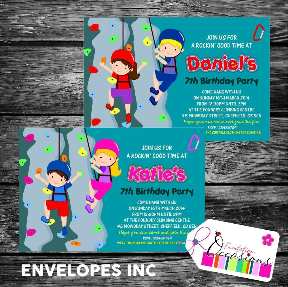 Details About Personalised Birthday Invitations Rock Climbing Wall Party X 5
