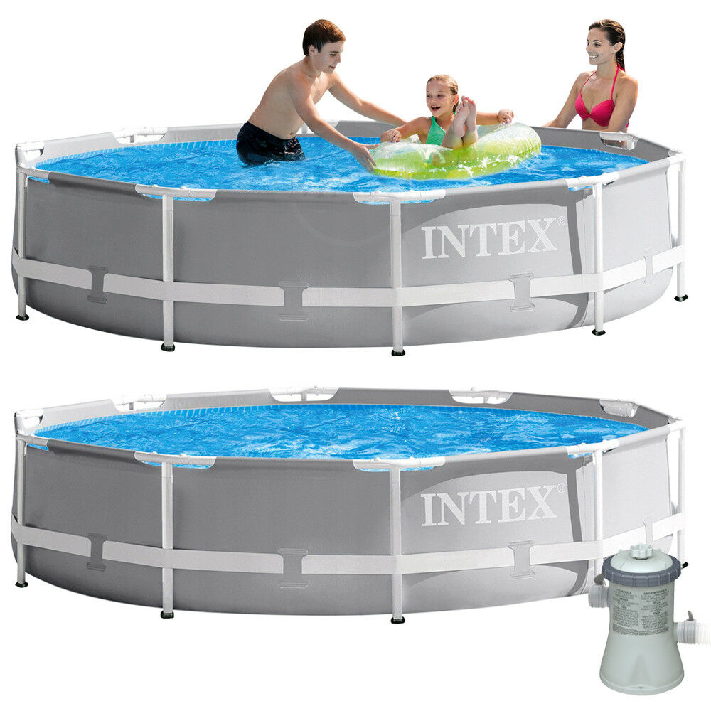 intex frame pool swimming pool mit pumpe 305x76cm schwimmbecken stahlrohrbecken ebay. Black Bedroom Furniture Sets. Home Design Ideas
