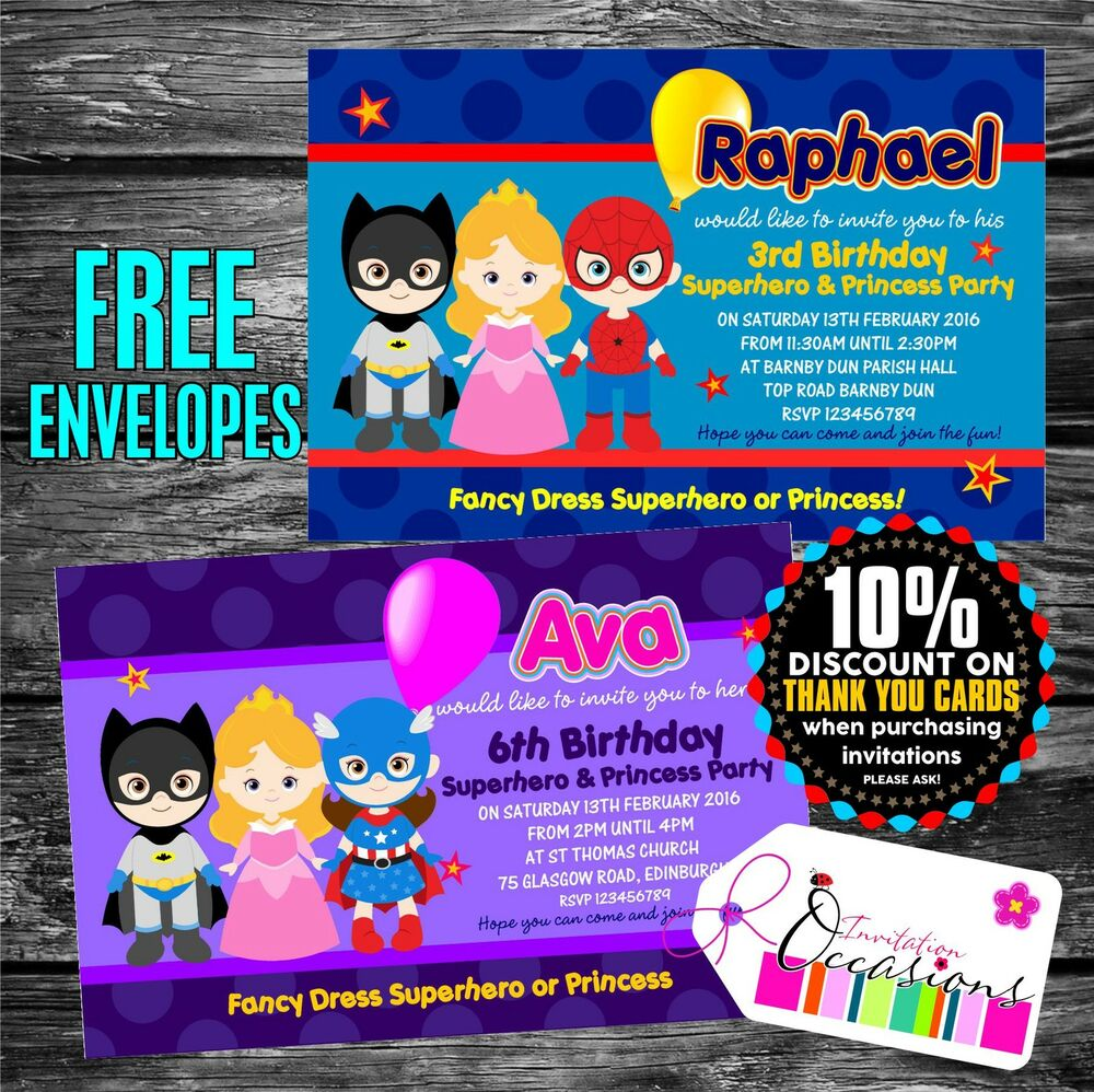 Personalised Birthday Invitations Superhero and Princess Party x 5 ...