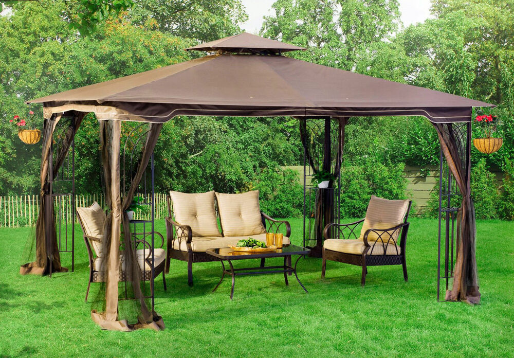 Patio Gazebo Canopy + Mosquito Netting 10x12 Patio Garden