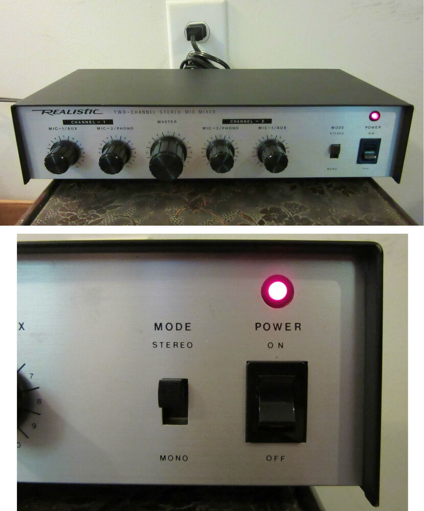 Vintage Two Channel Stereo Mic Mixer Realistic Works Model 33 For Microphone With 2 Channels 1057a Ebay