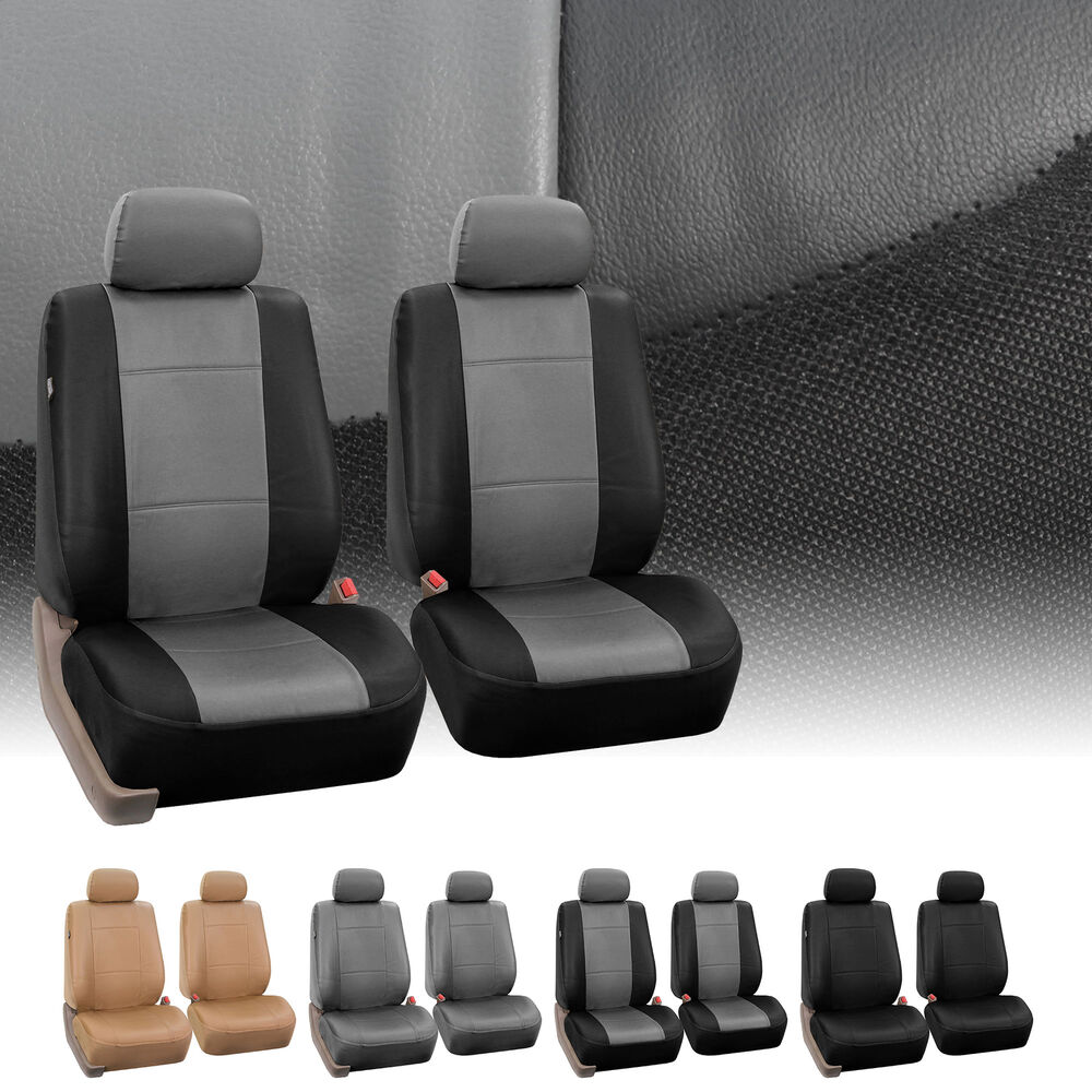 Pu Leather Universal Fitment Front Bucket Seat Covers Set
