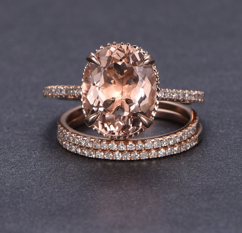 wedding 3 ring set 10x12mm oval morganite diamonds. Black Bedroom Furniture Sets. Home Design Ideas