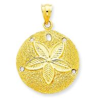 14k Yellow Gold Laser Cut Casted Sand Dollar Sea Shell Beach Theme Charm Pendant