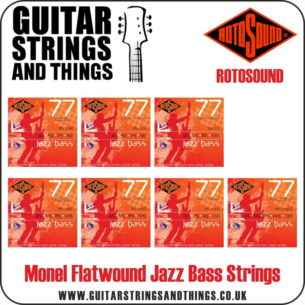 rotosound jazz bass 77 monel flatwound bass guitar strings 4 5 string ebay. Black Bedroom Furniture Sets. Home Design Ideas