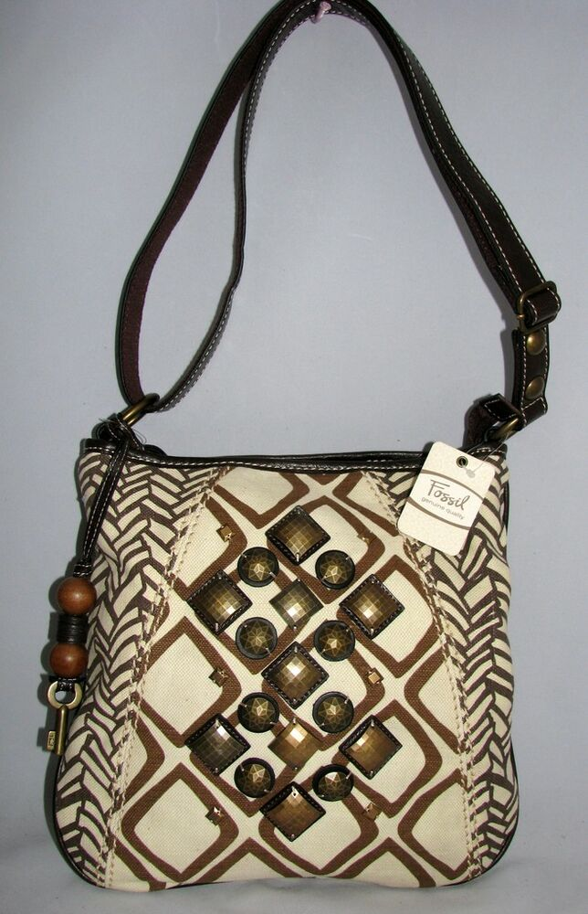 New Fossil Ari Crossbody Beige Brown Canvas Embellished Purse Hand Bag Ebay