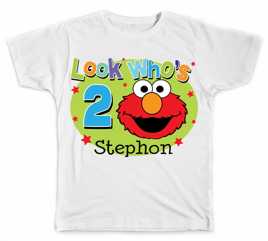 Personalized look who 39 s birthday with elmo t shirt ebay for Unique custom t shirts