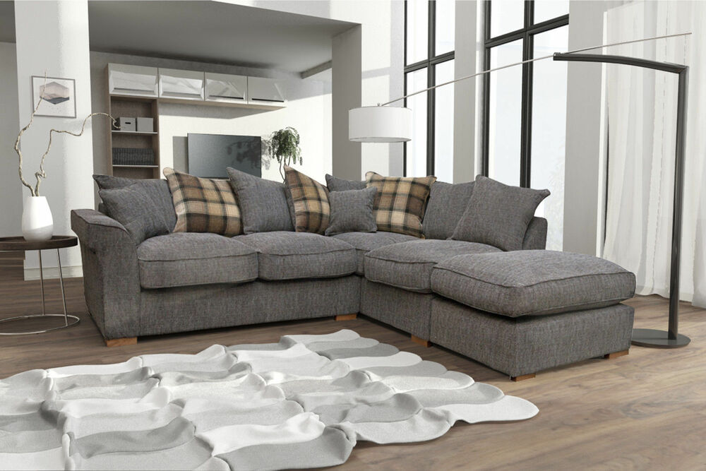 New Fable Large Corner Sofa Scatter Back With Free Footstool Cheap
