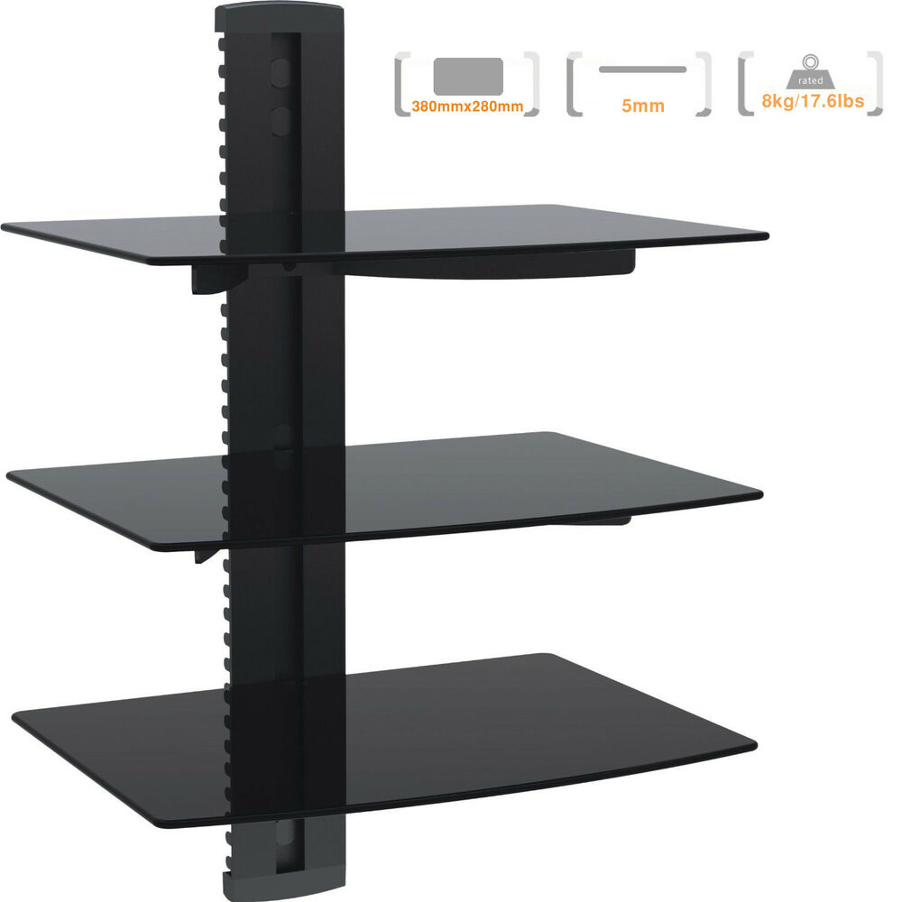 Tv wall mount av dvd cable box console shelving with 3 - Tv wall mount with shelf ...