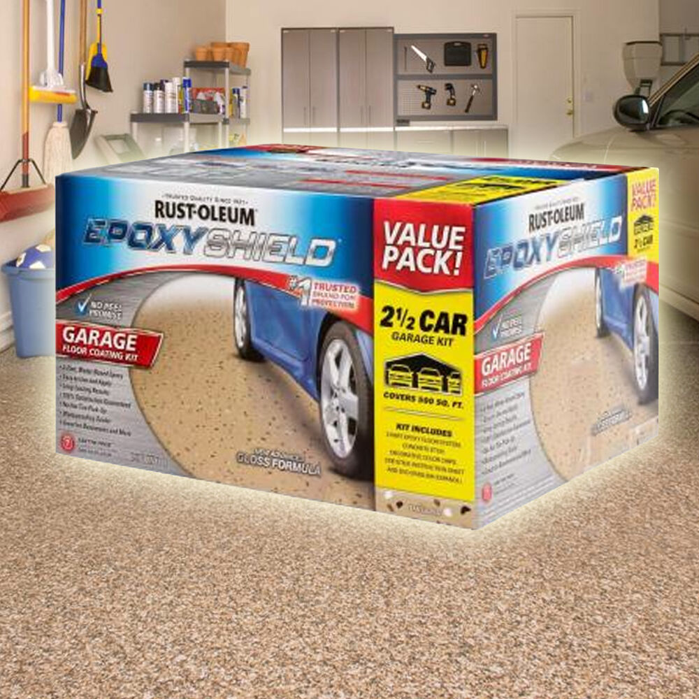 Rustoleum rust oleum epoxyshield garage floor coating kit for 2 1 2 car garage