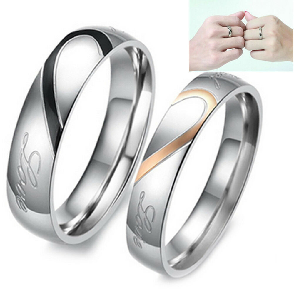 Stainless steel quot real love quot heart couple rings promise for Real wedding ring