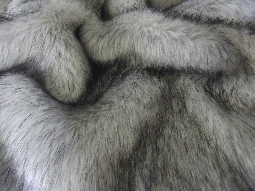 super luxury faux fur fabric material long pile silver. Black Bedroom Furniture Sets. Home Design Ideas