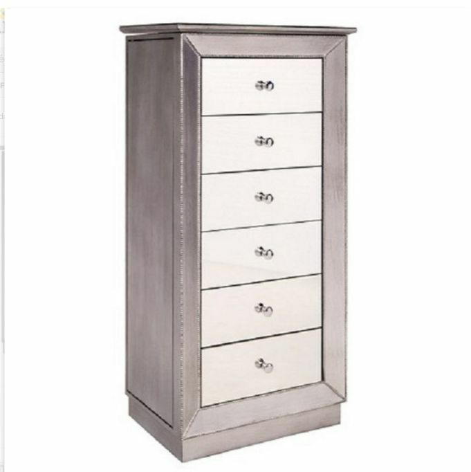 Jewelry Armoire Silver Mirror Wood Box Tall Modern Chest