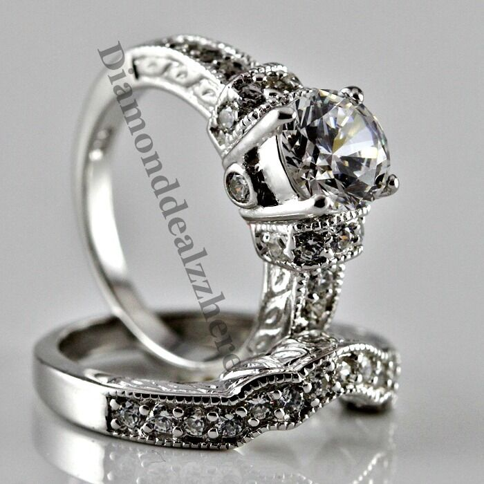 Sterling silver round cut lab diamond engagement ring for Ladies diamond wedding ring sets